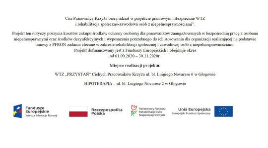 """Cisi Pracownicy Krzyża biorą udział w projekcie grantowym """"Bezpieczne WTZ  i rehabilitacja społeczno-zawodowa osób z niepełnosprawnościami""""."""